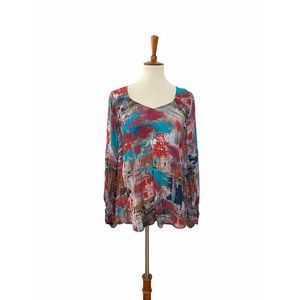 Tolani Long Sleeve Blouse Pullover Top Small